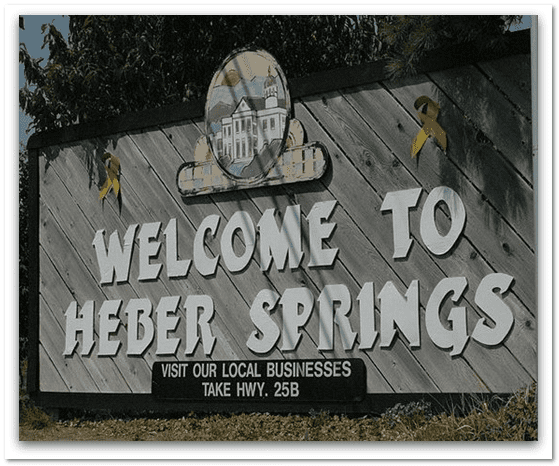 photo of the welcome sign for Heber Springs, Arkansas