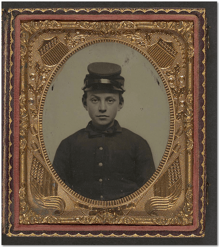photo of an unidentified young Civil War soldier in Union uniform and forage cap, from the Library of Congress