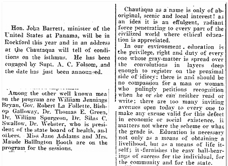 story about Chautauquan gatherings, Rockford Republic newspaper article 8 May 1905