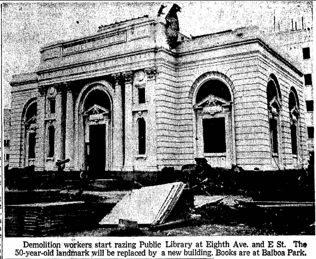 photo of the Carnegie library in San Diego about to be demolished, San Diego Union newspaper photograph 17 July 1952