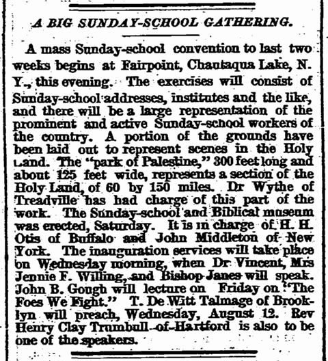 A Big Sunday-School Gathering, Springfield Republican newspaper article 4 August 1874
