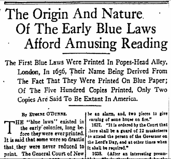 The Origin and Nature of the Early Blue Laws Afford Amusing Reading, Sun newspaper article 21 December 1919