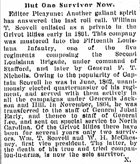 William Scovell obituary, Times-Picayune newspaper article 4 July 1895