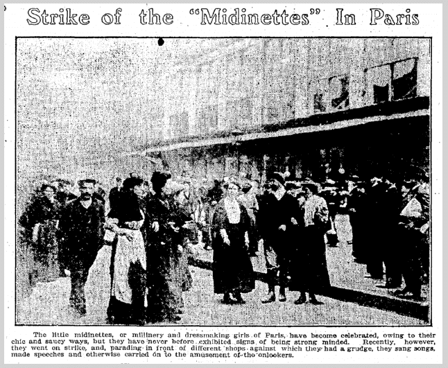 "Strike of the ""Midinettes"" in Paris, Trentoon Evening Times newspaper article 1 December 1910"