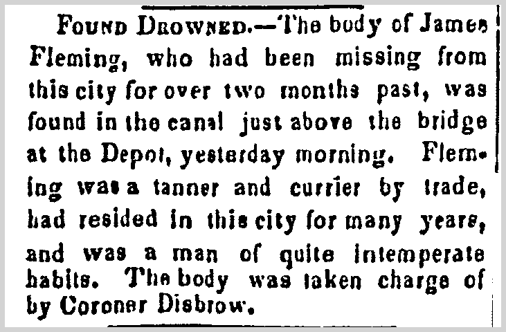 James Fleming obituary, Trenton State Gazette newspaper article 7 March 1849
