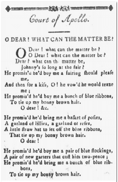 """O Dear, What Can the Matter Be?"" folk ballad, Weekly Museum newspaper article 22 February 1794"