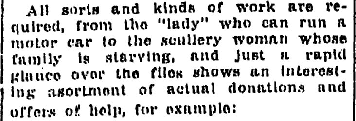 story about work available in England during World War I, Weekly Times-Picayune newspaper article 15 October 1914