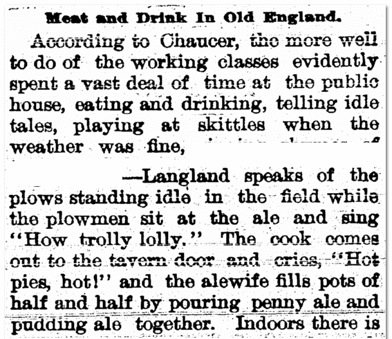 Meat and Drink in Old England, Woodbury Daily Times newspaper article 13 October 1897