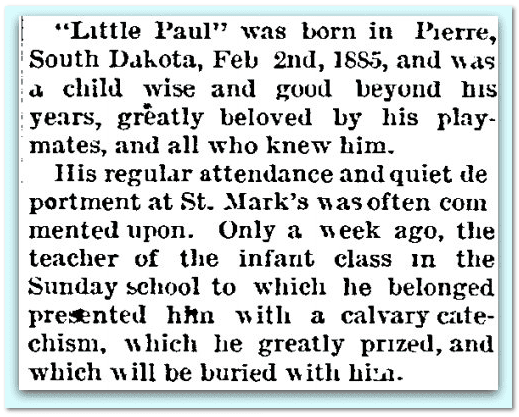 obituary for Paul Montgomery McBride, Aberdeen Daily News newspaper article 20 October 1889