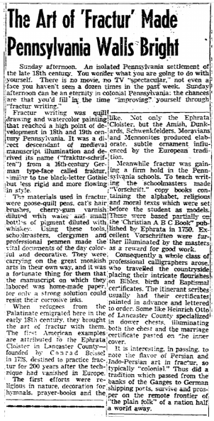 The Art of 'Fractur' Made Pennsylvania Walls Bright, Boston Herald newspaper article 9 October 1955