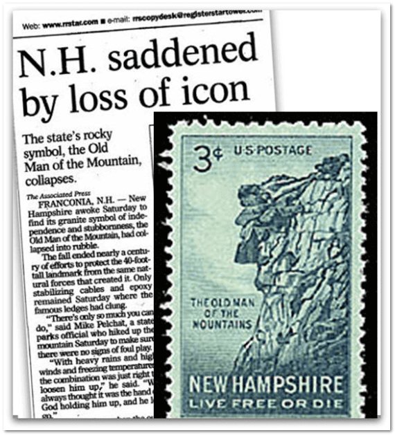 "newspaper article and stamp illustration of New Hampshire's ""Old Man of the Mountain"""