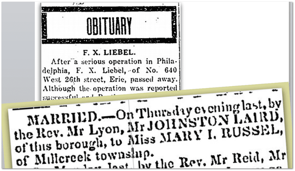 collage of articles from Erie, Pennsylvania, newspapers