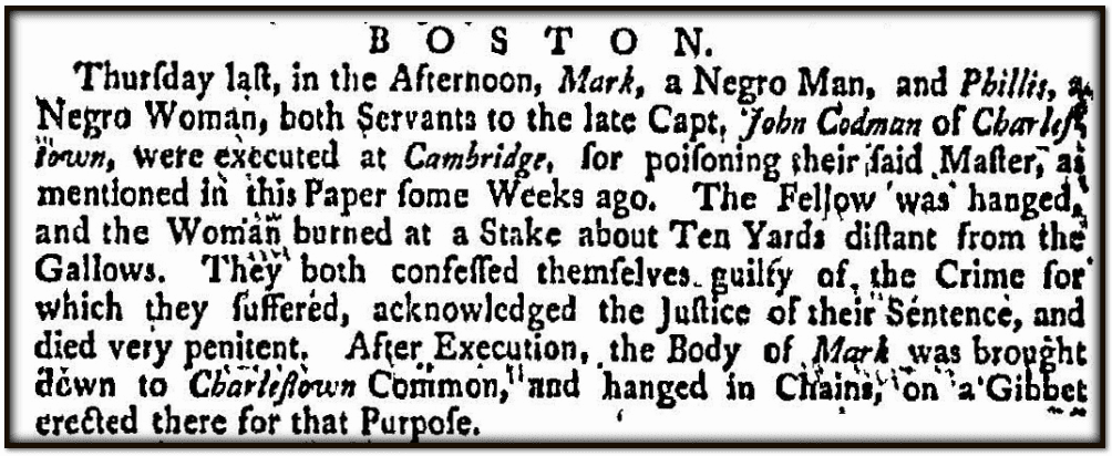 notice of a 1755 execution in Massachusetts, Evening Post newspaper article 22 September 1755