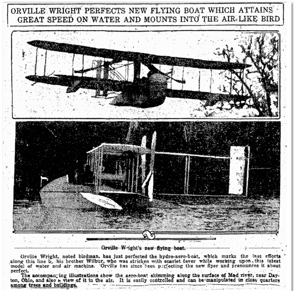 Orville Wright Perfects New Flying Boat, Evening Times newspaper article 5 December 1913