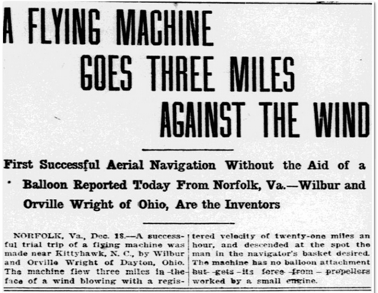 A Flying Machine Goes Three Miles against the Wind, Fort Worth Star-Telegram newspaper article, 18 December 1903