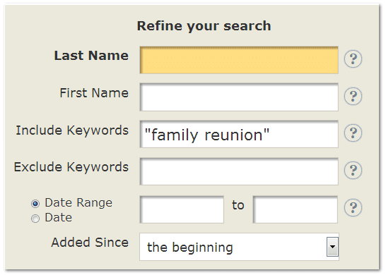 "GenealogyBank search box for ""family reunion"""