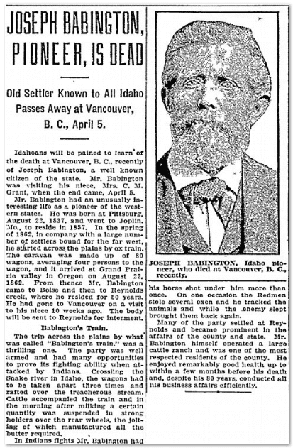 Joseph Babington, Pioneer, Is Dead, Idaho Statesman newspaper obituary 30 April 1922