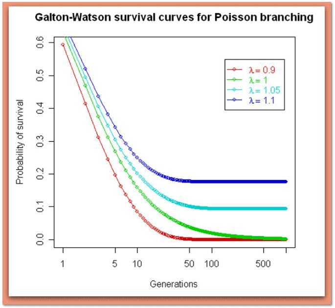 graph illustrating the Galton-Walton surname extinction study