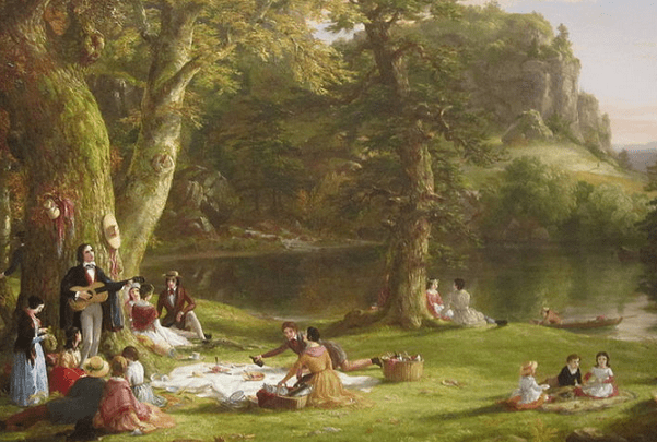 """Painting: """"The Picnic"""" by Thomas Cole, 1846. Credit: Brooklyn Museum; Billy Hathorn; Wikimedia Commons."""