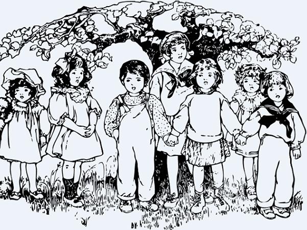 Illustration: children under a tree