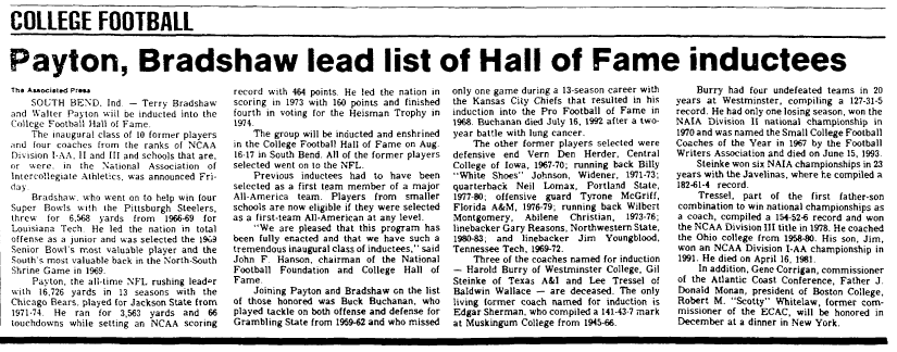 Payton, Bradshaw Lead List of Hall of Fame Inductees, Marietta Journal newspaper article 18 May 1996