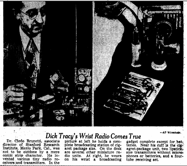 Dick Tracy's Wrist Radio Comes True, Omaha World Herald newspaper article 20 February 1949
