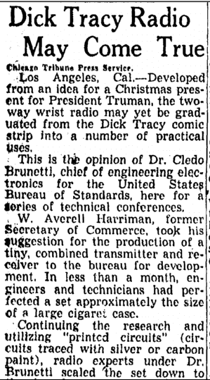 Dick Tracy Radio May Come True, Omaha World Herald newspaper article 11 August 1948
