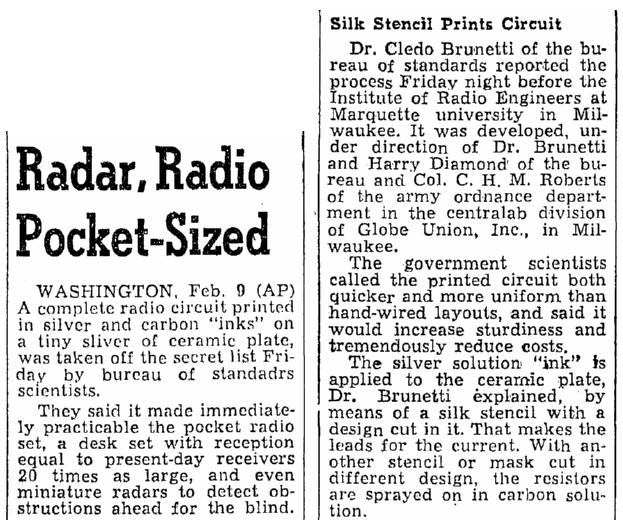 Radar, Radio Pocket-Sized, Oregonian  newspaper article 9 February 1946
