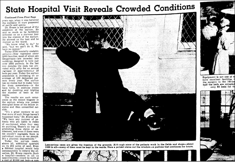 State Hospital Visit Reveals Crowded Conditions, Oregonian newspaper article 14 April 1940