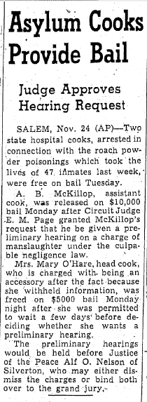 Asylum Cooks Provide Bail, Oregonian  newspaper article 25 November 1942
