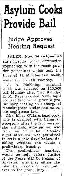 Asylum Cooks Provide Bail, Oregonian  newspaper article 25 November 1942