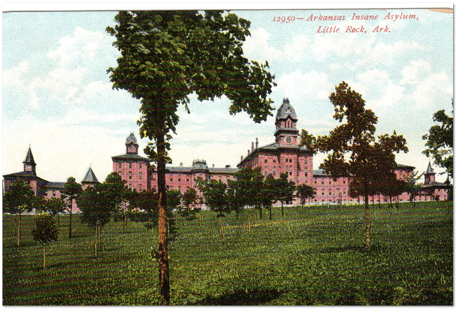 vintage postcard of the Arkansas Insane Asylum