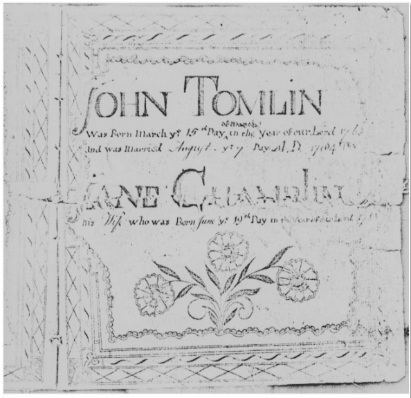 marriage fraktur for John Tomlin and Jane Chamblin