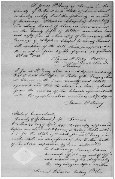 marriage certification for Stephen Chapel and Lucy Russel 25 October 1795