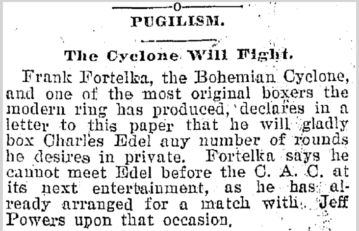 Pugilism: The Cyclone Will Fight, Plain Dealer newspaper article 11 April 1895