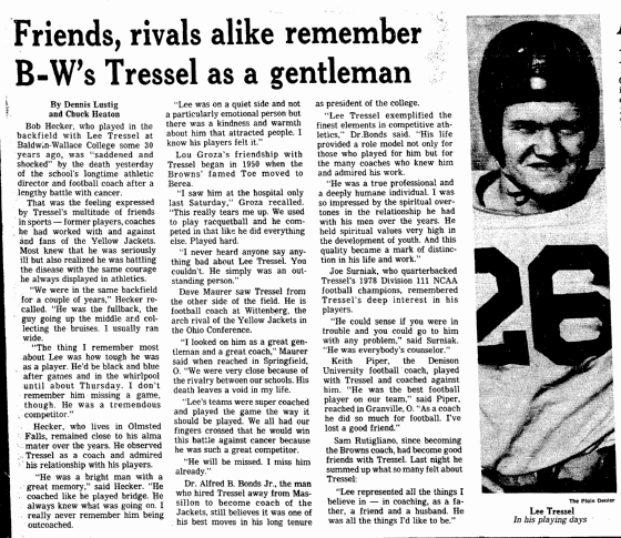 Friends, Rivals Alike Remember B-W's Tressel as a Gentleman, Plain Dealer newspaper article 17 April 1981