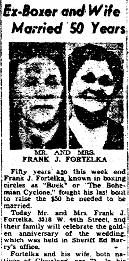Ex-Boxer and Wife Married 50 Years, Plain Dealer  newspaper article 26 October 1947