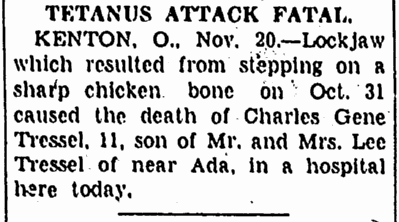 Tetanus Attack Fatal, Repository newspaper article 20 November 1933