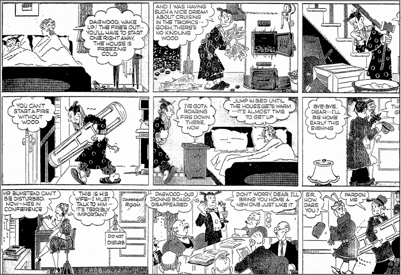 """Blondie"" comic strip, Richmond Times Dispatch newspaper 11 December 1938"