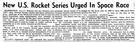 New U.S. Rocket Series Urged in Space Race, San Diego Union newspaper article 21 April 1961