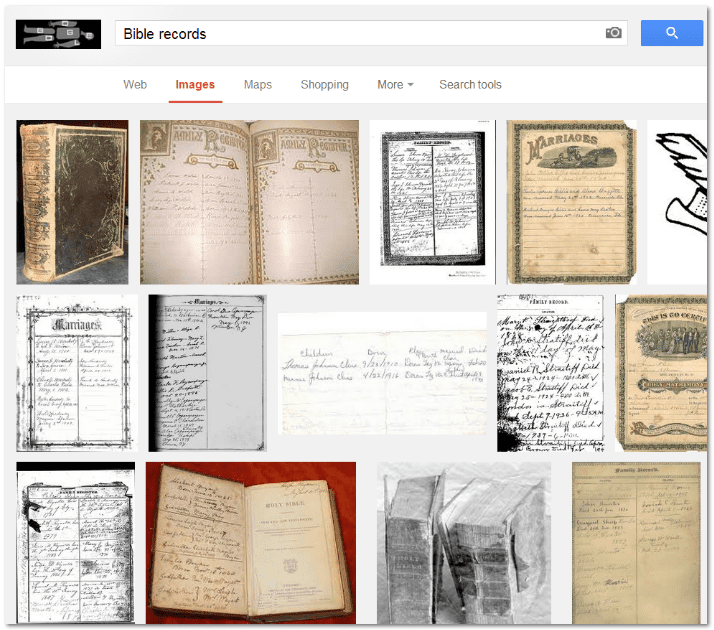 "screenshot of Google Images search results for ""Bible records"""