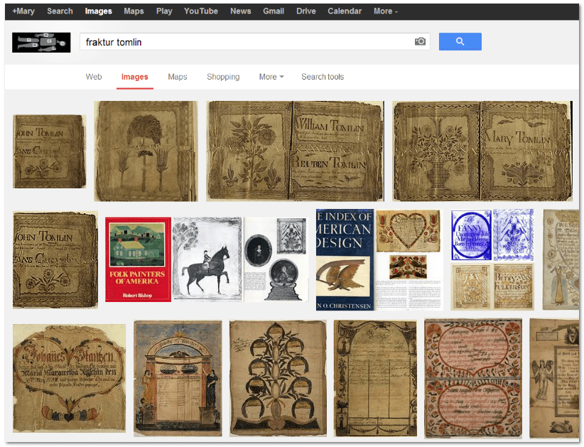 "screenshot of Google Images search results for ""fraktur"" and the surname ""Tomlin"""