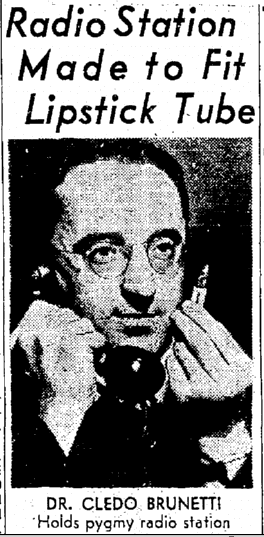 photo of scientist Cledo Brunetti, Seattle Daily Times newspaper article 16 February 1947