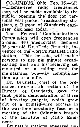 Radio Station Made to Fit Lipstick Tube, Seattle Daily Times newspaper article 16 February 1947