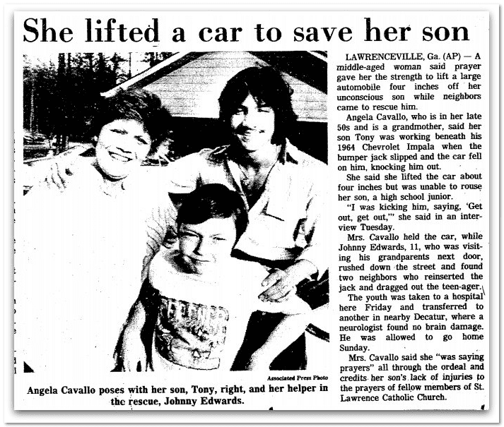 She Lifted a Car to Save Her Son, Springfield Union newspaper article 14 April 1982