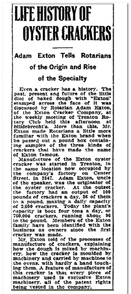 Life History of Oyster Crackers, Trenton Evening Times newspaper article 31 May 1917