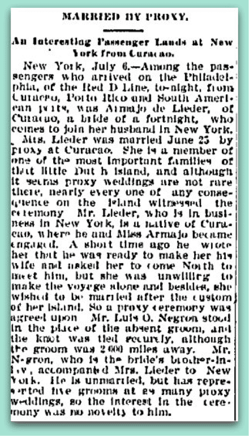 Married By Proxy Charlotte Observer July 2, 1902