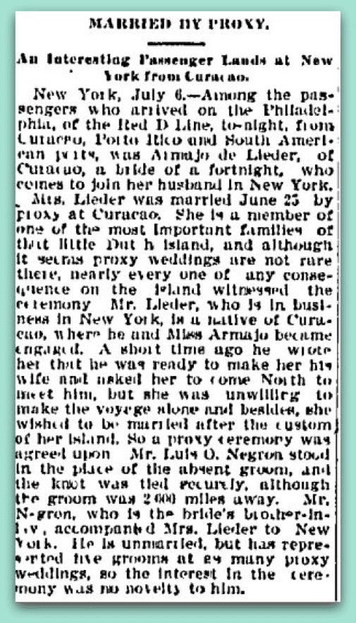 Married By Proxy Charlotte Observer July 2, 1902