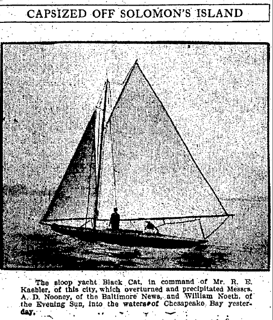 Capsized off Solomon's Island, Baltimore American newspaper article 18 July 1910