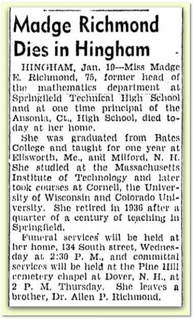 Madge Richmond Dies in Hingham, Boston Herald newspaper obituary 20 January 1942
